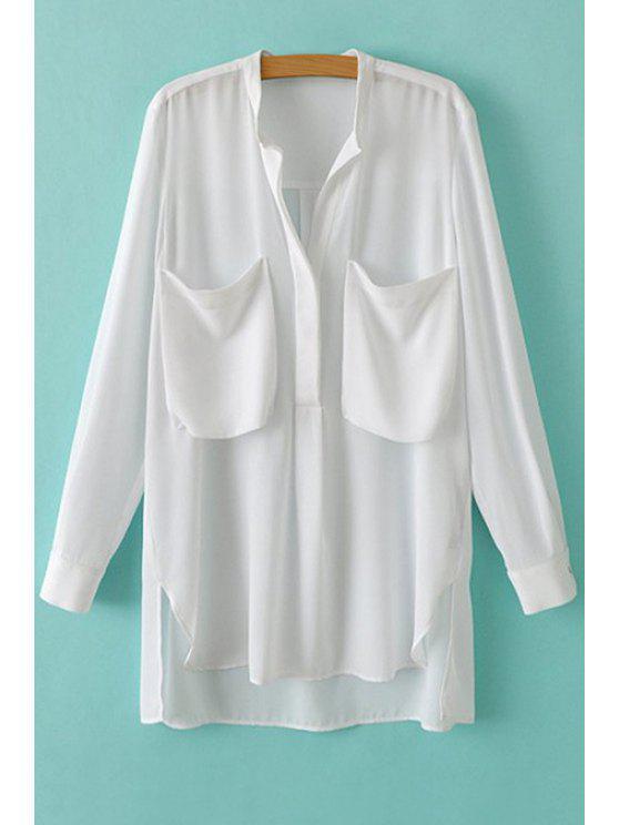 unique Stand Collar White Pocket Shirt - WHITE S