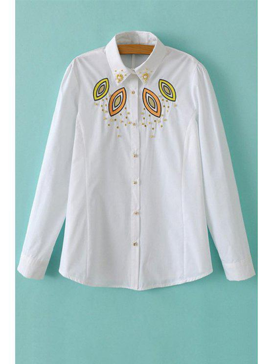 women's Long Sleeve Embroidery Beaded Shirt - WHITE S