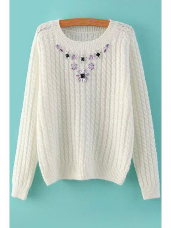lady Long Sleeve Diamante Sweater - WHITE ONE SIZE(FIT SIZE XS TO M)