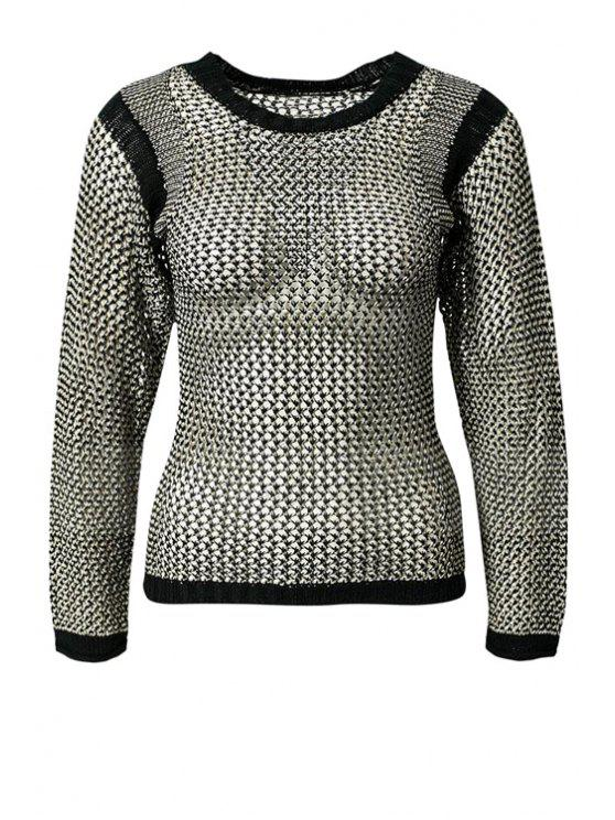 hot See-Through Color Block Sweater - SILVER S