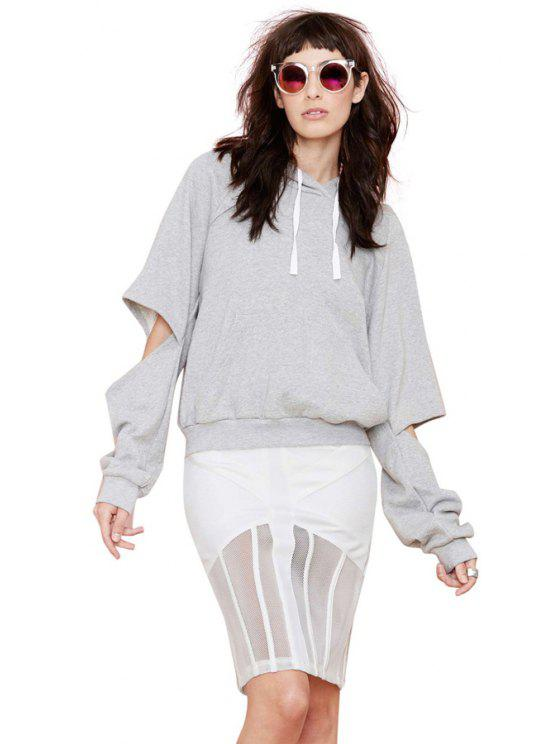 hot Gray Long Sleeve Cut Out Hoodie - GRAY S