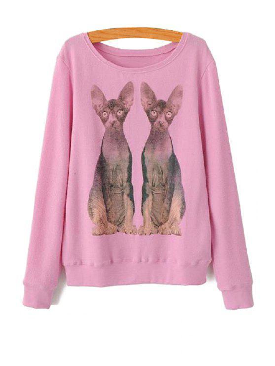 trendy Kittens Print Long Sleeve Sweatshirt - PINK S