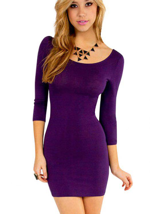 83c16d9f6728 27% OFF  2019 Solid Color 3 4 Sleeve Bodycon Dress In PURPLE