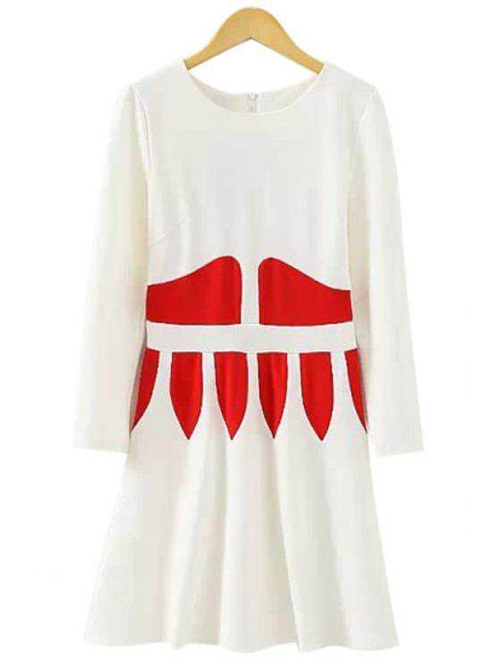 fashion Long Sleeve Color Block A-Line Dress - WHITE L
