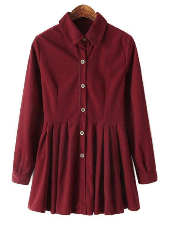 unique Long Sleeve Solid Color Corduroy Dress - WINE RED S