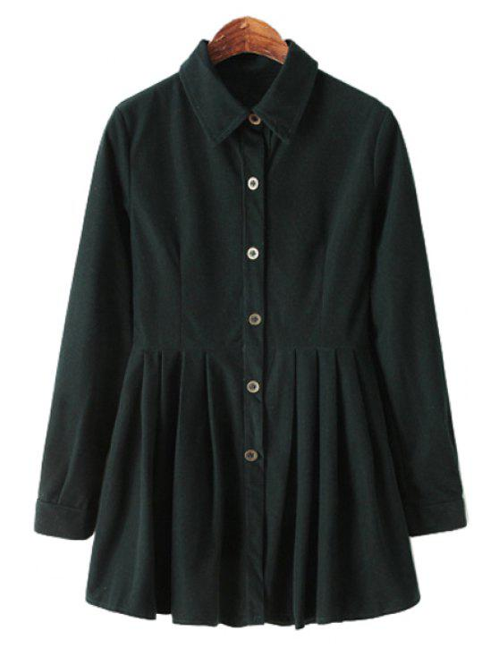 shop Long Sleeve Solid Color Corduroy Dress - BLACKISH GREEN M