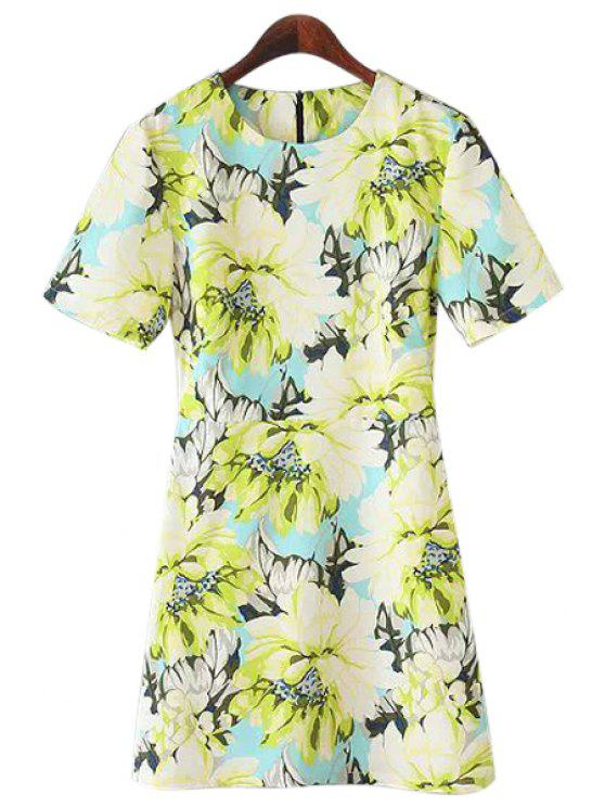 buy Short Sleeves Floral Print A-Line Dress - YELLOW S