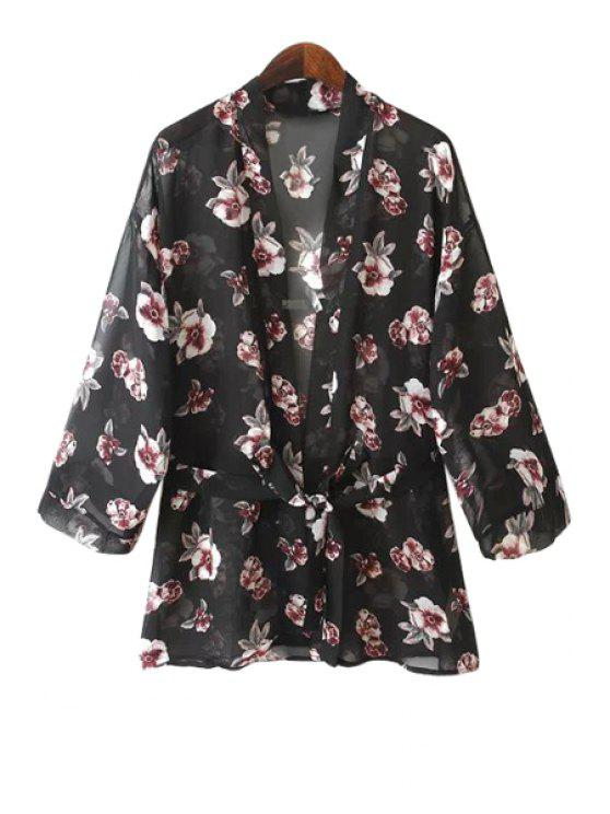 affordable Flower Print Lace-Up Blouse - BLACK S