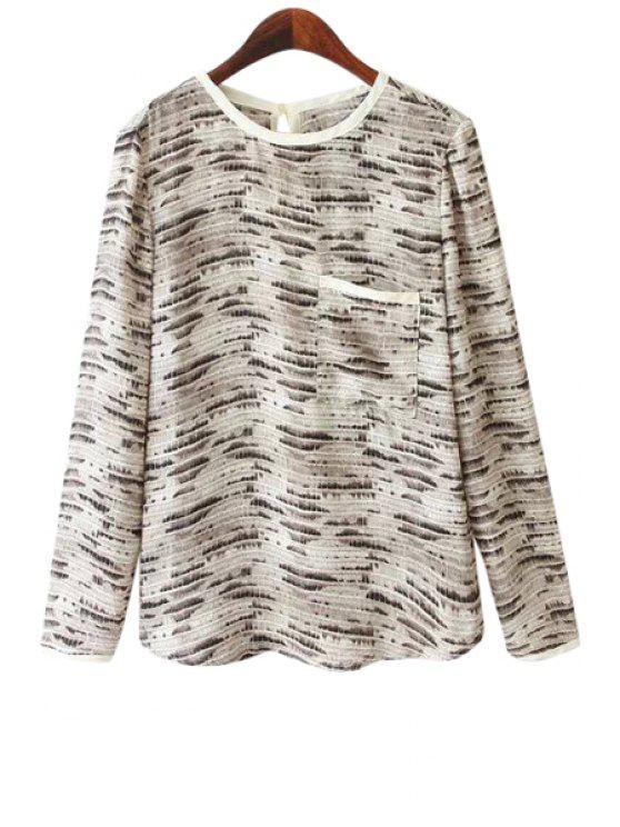 women Long Sleeves Snake Pattern Blouse - LIGHT GRAY S