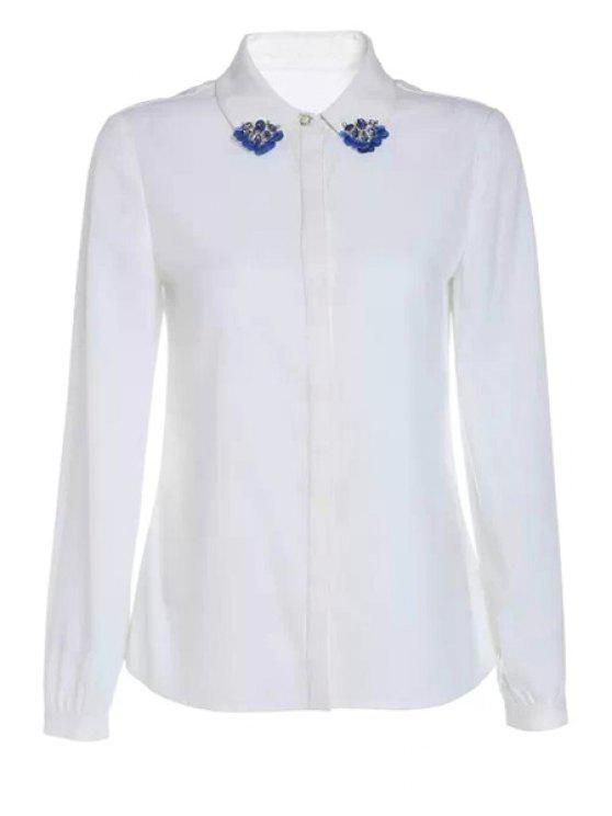 lady Long Sleeve Rhinestone Sequins Shirt - WHITE S