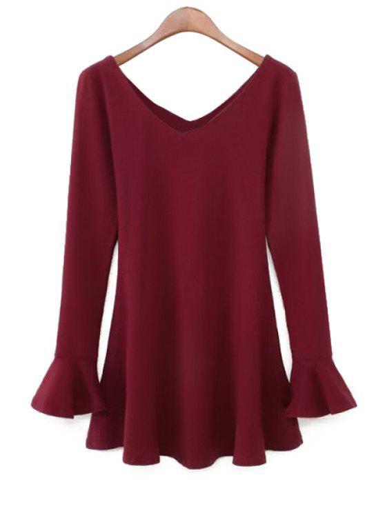 online V-Neck Solid Color Flouncing Dress - WINE RED M