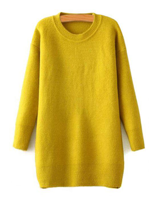 hot Long Sleeve Yellow Sweater - YELLOW ONE SIZE(FIT SIZE XS TO M)
