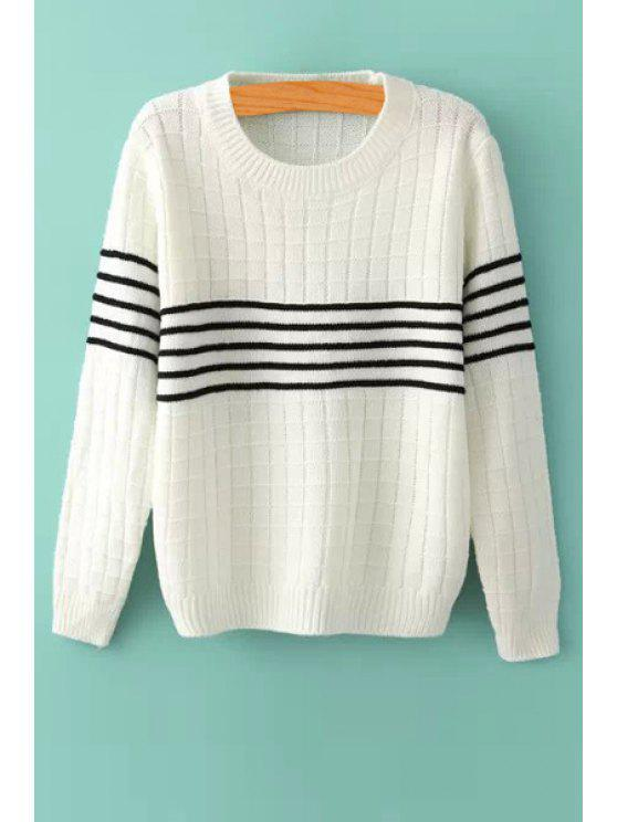 shop Striped Splicing Long Sleeves Sweater - WHITE ONE SIZE(FIT SIZE XS TO M)