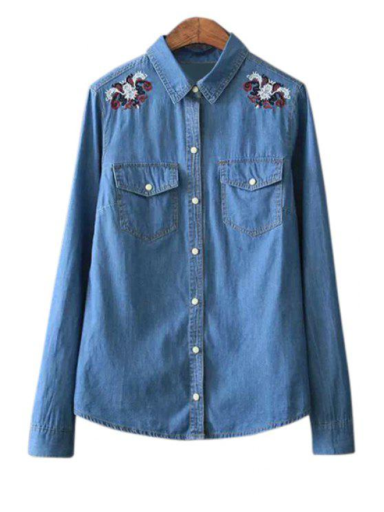outfits Shirt Collar Embroidery Denim Shirt - BLUE S