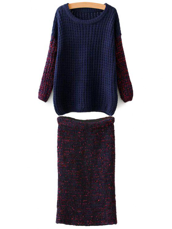 womens Color Block Sweater and Knit Skirt Suit - BLUE AND RED ONE SIZE(FIT SIZE XS TO M)