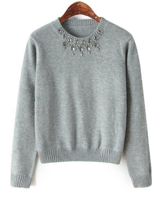 fancy Rhinestone Gray Long Sleeve Sweater - GRAY ONE SIZE(FIT SIZE XS TO M)