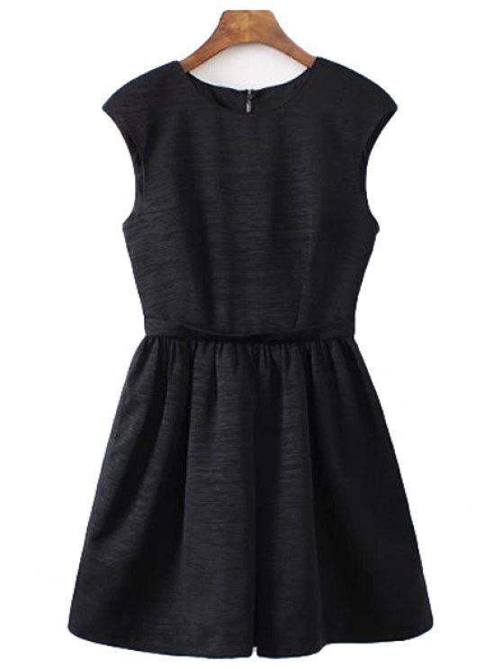 womens Rhinestone Sleeveless Black Dress - BLACK S