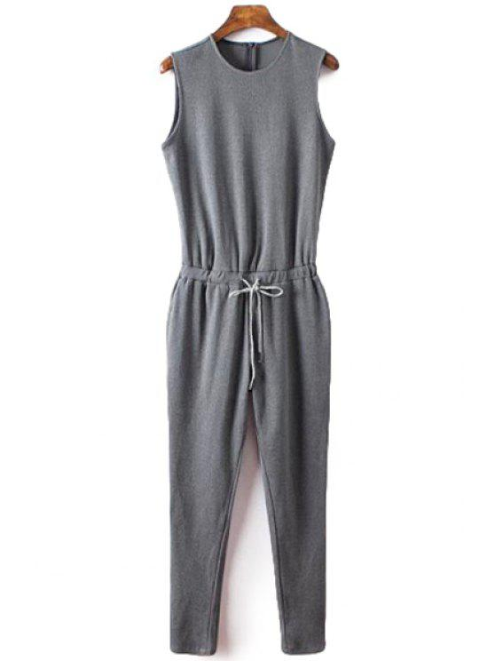 chic Gray Sleeveless Drawstring Jumpsuit - GRAY S