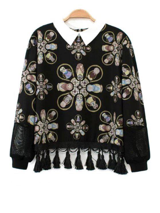 buy Long Sleeve Print Fringe Blouse - BLACK S