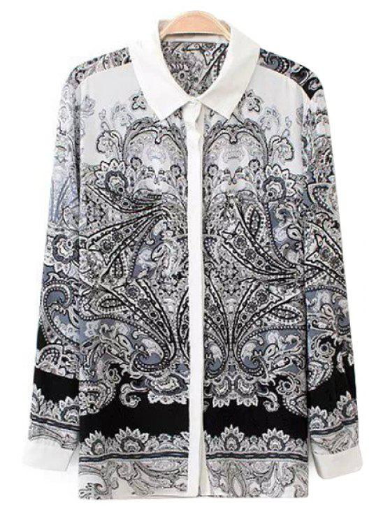 shops Long Sleeves Retro Print Shirt - GREY AND WHITE S