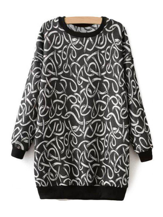 women's Long Sleeve String Pattern Sweatshirt - BLACK ONE SIZE(FIT SIZE XS TO M)
