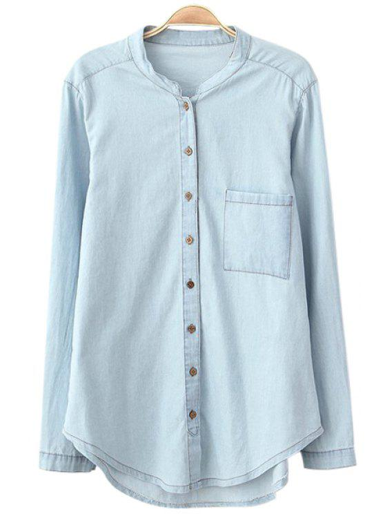 buy Stand Collar Solid Color Denim Shirt - LIGHT BLUE L