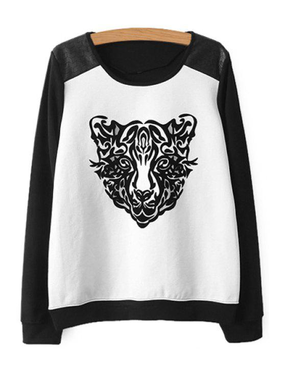 best Tiger Pattern Color Block Sweatshirt - WHITE AND BLACK S