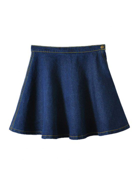 latest Solid Color Flouncing Denim Skirt - DEEP BLUE XS