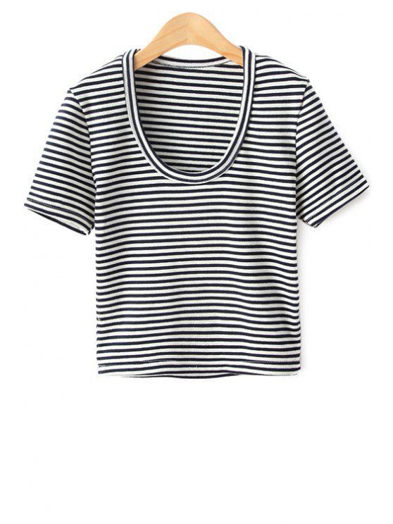 unique Short Sleeve Striped T-Shirt - PURPLISH BLUE M