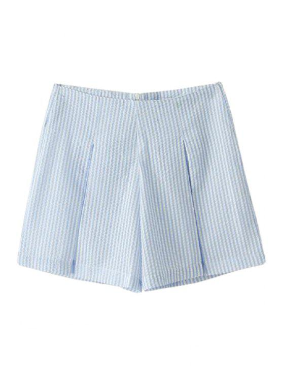 outfit Striped Wide Leg Shorts - LIGHT BLUE XS