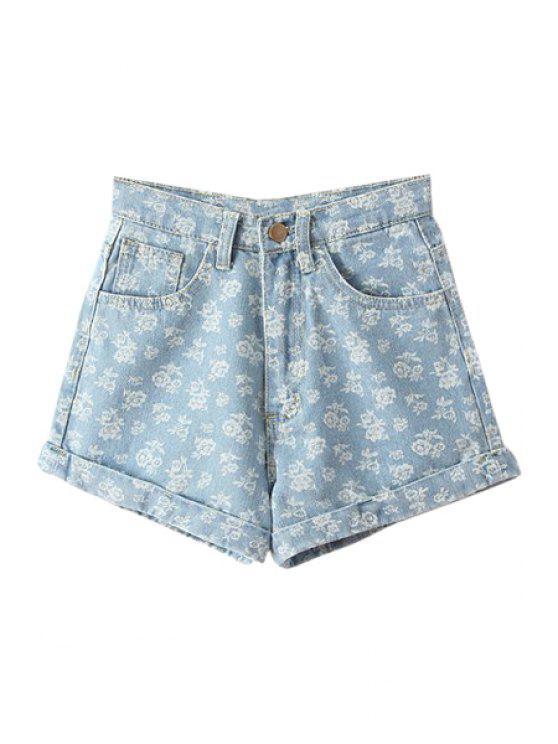 sale Floral Denim High Waisted Shorts - LIGHT BLUE 23
