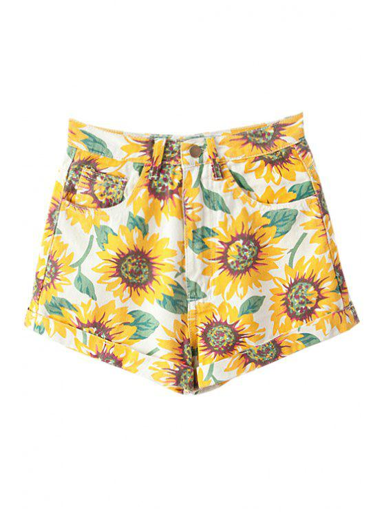 lady Sunflower Print Denim Shorts - YELLOW 23