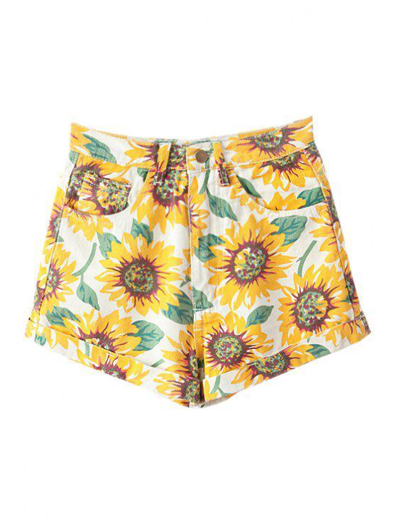 lady Sunflower Print Denim Shorts - YELLOW 23