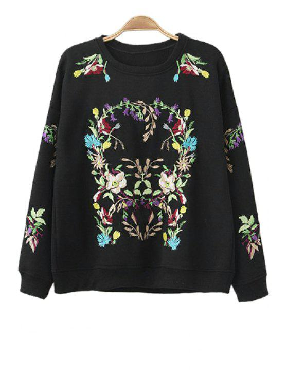 new Round Neck Floral Embroidery Sweatshirt - BLACK L