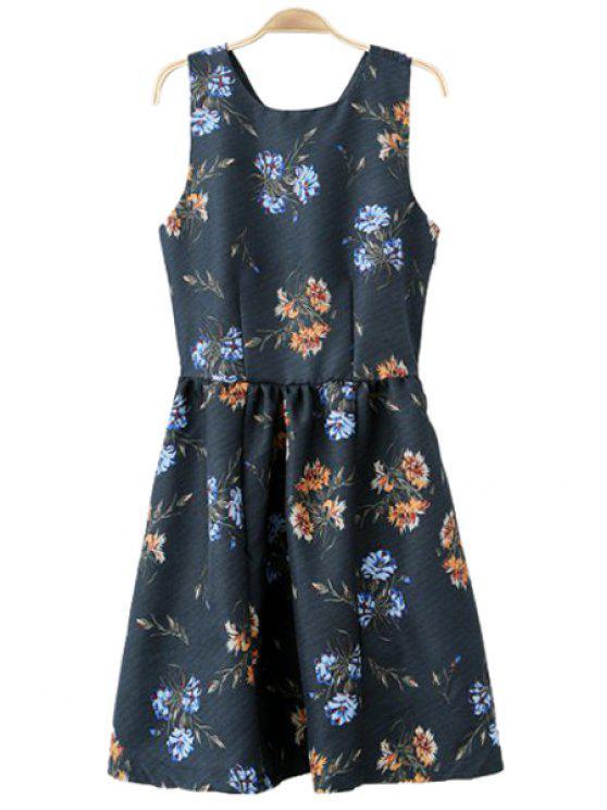 sale Floral Sleeveless Cross Back Dress - PURPLISH BLUE S