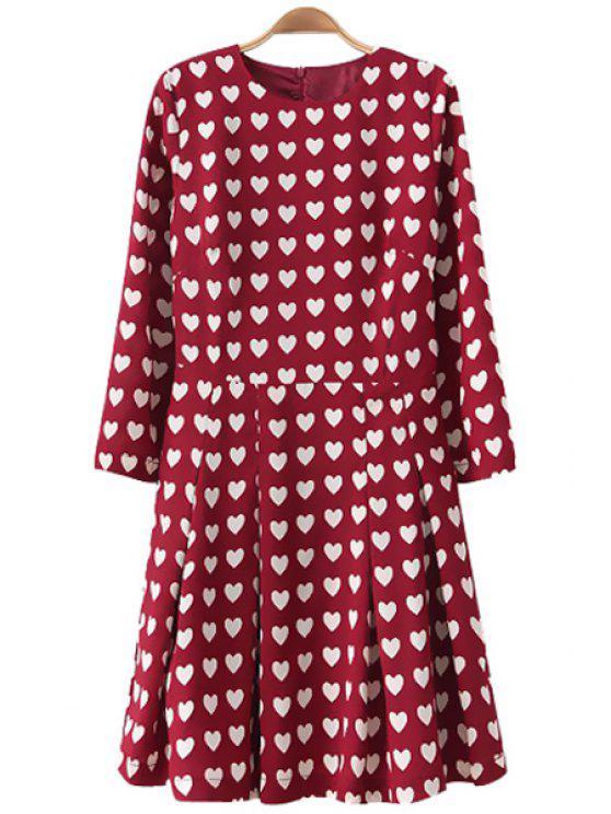 best Full Heart Print Long Sleeve Dress - RED S