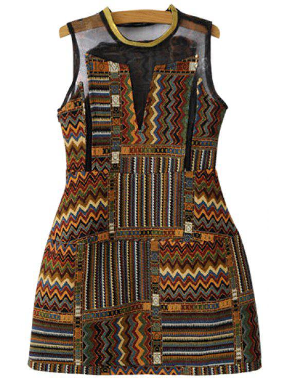 outfit Geometric Pattern Sleeveless A-Line Dress - DEEP BROWN XS