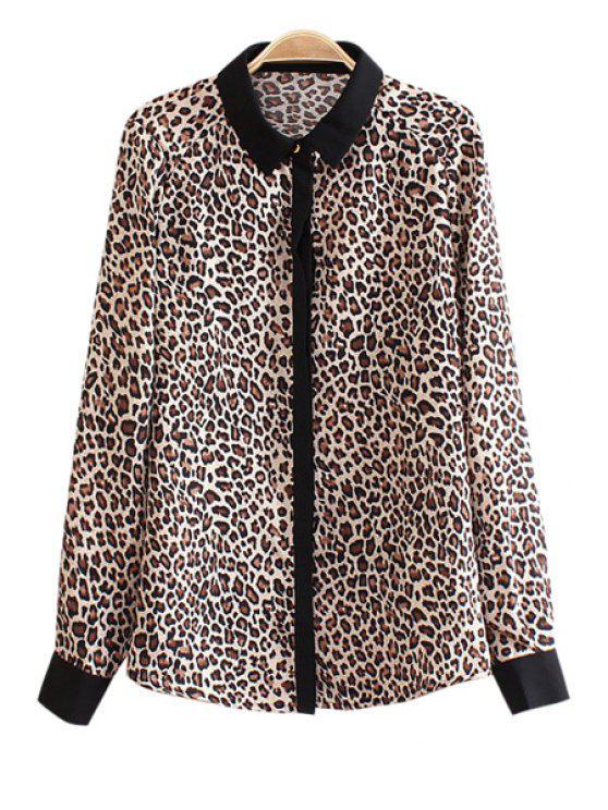 women Turn-Down Collar Leopard Print Shirt - LEOPARD S