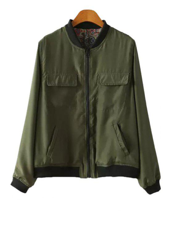 fashion Long Sleeve Double-Faced Jacket - ARMY GREEN S