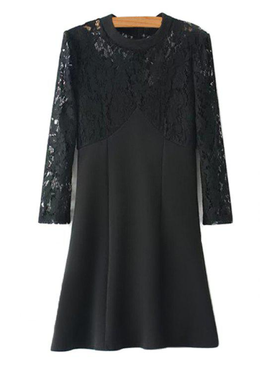 ladies Lace Splicing Long Sleeves Dress - BLACK L
