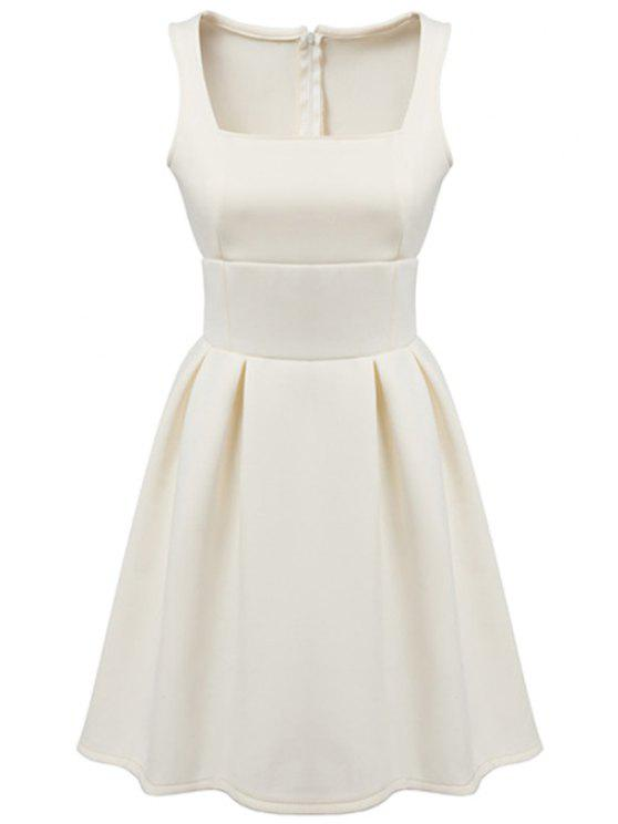 lady Square Neck Sleeveless Solid Color Dress - WHITE S