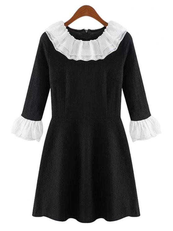 best Ruffles Color Block 3/4 Sleeve Dress - BLACK S