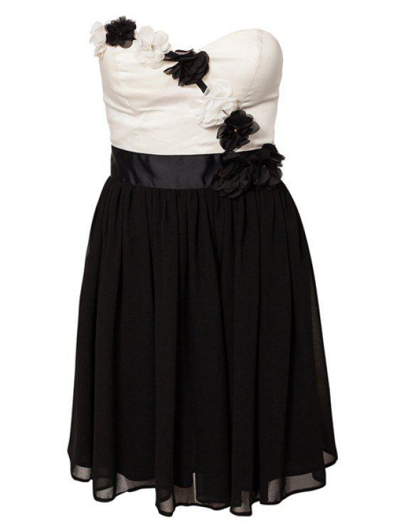 best Strapless Color Block Dress - BLACK M
