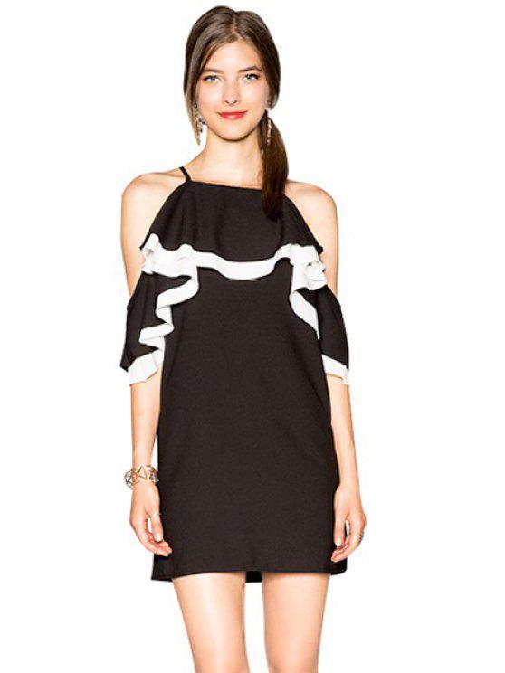 Off-The-épaule Ruffles Dress - Noir S