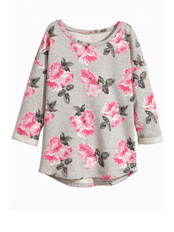 affordable Floral Nine-Minute Sleeve T-Shirt - GRAY S