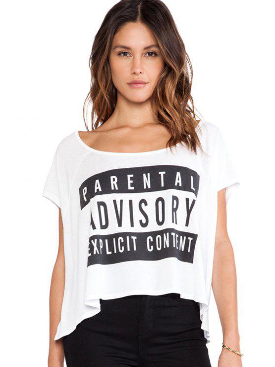 fancy Letter Print High-Low Hem T-Shirt - WHITE XS