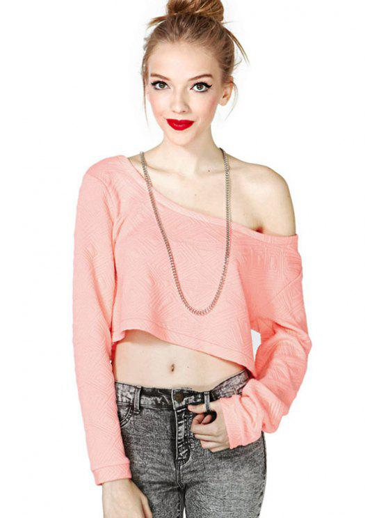 latest Long Sleeve Solid Color Crop Top - PINK XS