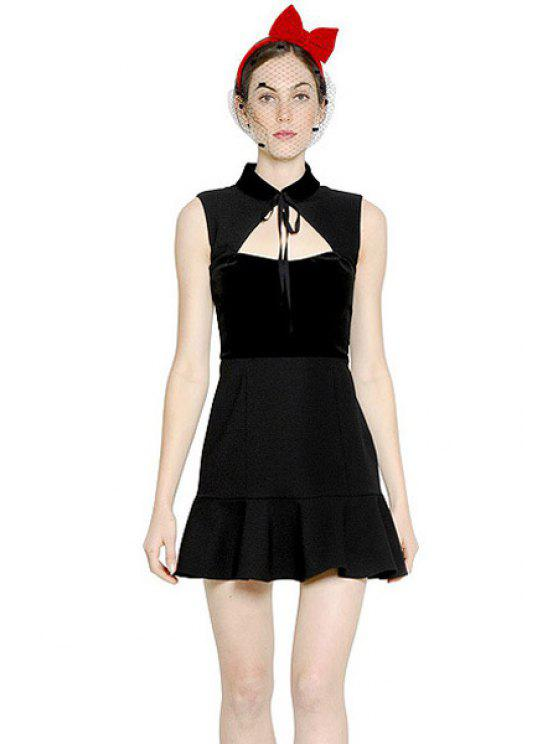 women Sleeveless Ruffles Splicing Dress - BLACK XS