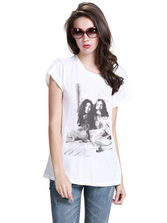 new Figure Print Short Sleeves T-Shirt - WHITE XS