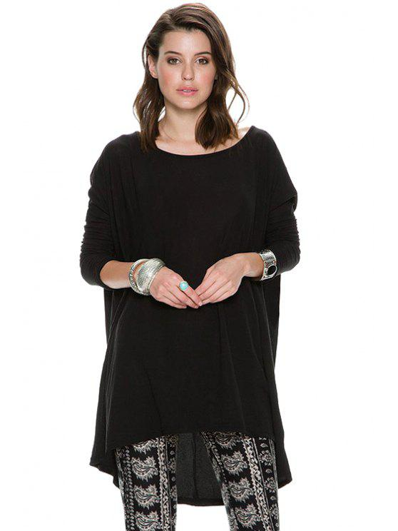 latest Solid Color Bat-Wing Sleeves T-Shirt - BLACK XS